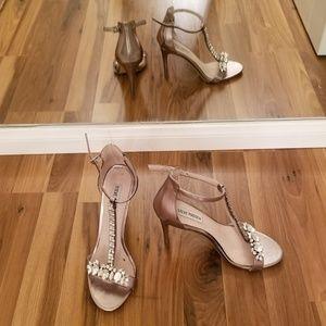 Steve Madden bejeweled silver heels